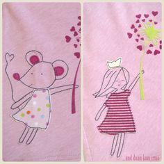 Geburtstagskleid Applikation Maus und Prinzessin mit Pusteblume Tutorial