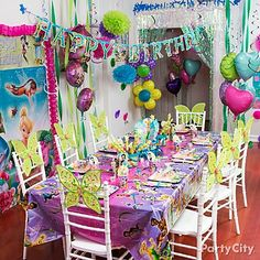 """Time for a Tinker Bell """"purple moon"""" party! Decorate the room with flitterific decorations, balloons and fairy wings on the chairs. ♥!"""