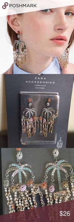 f7abff37a32 Zara gorgeous earrings new in box Stunning tropical earrings all  rhinestones and fun! Very light weight despite it s size.