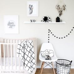 I really do love a #monochrome nursery set up. Tap for details. #whitefoxstyling Liapela.com