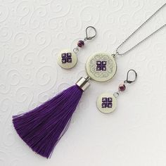Items similar to Purple Tassel necklace, Hand embroidered pendant with Royal Purple silk tassle, Long Bohemian necklace on Etsy Purple necklace Tassel necklace Purple tassle necklace Hand Cross Jewelry, Metal Jewelry, Beaded Tassel Earrings, Purple Necklace, Geometric Necklace, Bohemian Necklace, Biscuit, Schmuck Design, Designer