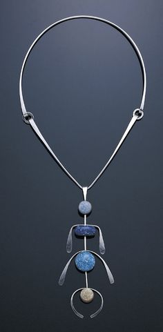 "Necklace | Elsa Freund.  ""Totem"".  Silver (or aluminium?), ceramic, glass 