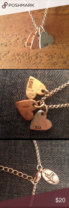 """JK by Thirty-One Three Hearts Necklace Tri-tone hearts necklace in copper, gold, and silver colors. The gold heart says LOVE, the silver heart XO, and the copper heart is blank. Length is 18"""" + 2"""" extension. Thirty-One Jewelry Necklaces"""