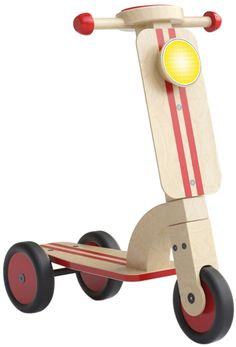 Esemebe - Scooter, Color Natural y Rojo Wooden Toy Shop, Making Wooden Toys, Wooden Car, Wooden Scooter, Wood Bike, Wooden Projects, Wood Crafts, Popsicle Stick Crafts For Kids, Natural Toys