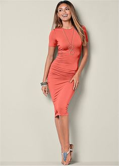Venus basic high neck dress in burnt coral with Venus embellished thong sandal and Venus two tone chain necklace.