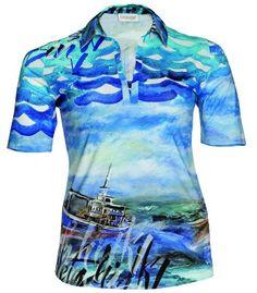 Hawaii Poloshirt für Damen von Chalou große Größen in Blau