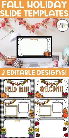 Get your distance learning classroom ready for Fall 2020! Stay festive with these bright and beautiful Fall Holiday Slide Templates for your classroom. These editable google slide templates will transform your distance learning classroom for the Fall season. Perfect for your preschool, kindergarten, elementary, middle school, and high school virtual classroom! #distancelearning #googleslides #virtuallearning #fallclassroomdecorations #distancelearningfall