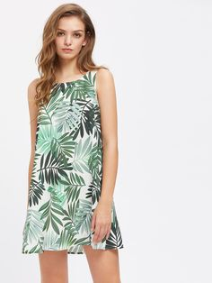 Shop Leaf Print Self Tie Keyhole Back Dress online. SheIn offers Leaf Print Self Tie Keyhole Back Dress & more to fit your fashionable needs. Dress Shirts For Women, Casual Dresses For Women, Sexy Dresses, Cute Dresses, Summer Dresses, Sleeveless Dresses, Dress Backs, Dress P, Tank Dress