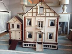 Wonderful antique GJ Lines dolls house for top end of market. Circa 1895 with original coach house and pull out garden! There are four rooms and a Antique Dollhouse, Dollhouse Dolls, Vintage Stuff, Vintage Dolls, Four Rooms, Coach House, Miniature Houses, Antique Toys, Doll Houses