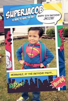 Superhero Party Prop Frame, Superhero Photo Prop, Superhero Theme, Comic Book Theme, Comic Book Party, Super Birthday, Photo Booth, HIGH-QUALITY digital file by Imajenit on Etsy https://www.etsy.com/listing/246713940/superhero-party-prop-frame-superhero