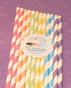 Spring Stripes Paper Straws
