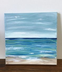 "Original Abstract Painting by ArtfulDay. This Lovely Landscape Abstract is titled ""Cape Cod"" 10 inches x 10 inches Growing up I would visit Cape Cod, Ma in the summertime. It was a very fond memory, full of excitement and family. This Painting reflects my feelings for the area..blues and"