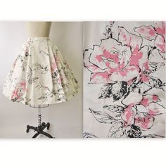 50's Floral Print Skirt //  Vintage 1950's Floral Print Cotton Full Pleated Garden Party Skirt XS. $48.00, via Etsy.