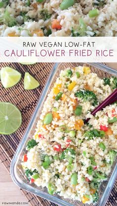 Cauliflower Fried Rice {Low-Fat, Raw, Vegan, Gluten-Free} The perfect recipe for any diet/lifestyle. Cauliflower is a great low-carb alternative to rice. This recipe can be eaten raw or cooked. Both are equally delicious!
