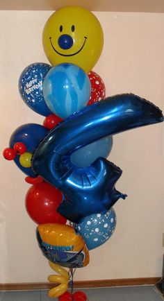 Smile Youre 4 Today Balloon Bouquet Large With Number 124