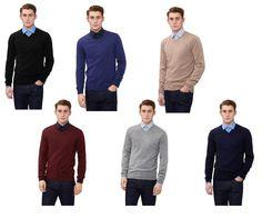 DKNY Mens Jumper Slim Fit Merino Wool V Neck Soft Feel Knitwear Casual Sweather
