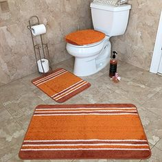 Incroyable 3 PIECE BATHROOM RUG SETS | Anti Bacterial Rubber Back Non Skid/