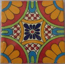 "12 MEXICAN Talavera Tiles 4x4"" CERAMIC Handmade C187"
