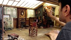 Turkish artist creates a miniature model of an early 1900s photography studio, complete with period-accurate desks, flooring, wall paneling, and props.