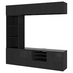 BRIMNES TV storage combination/glass doors, white, When it's organized by the TV it's easier to indulge in your favorite TV series. Keep your games, controls and accessories in the large drawers and feed the cords through the outlets in the back. Glass Cabinet Doors, Glass Shelves, Glass Front Door, Glass Door, Tv Storage, Storage Spaces, Billy Oxberg, Tv Bench, Frame Shelf