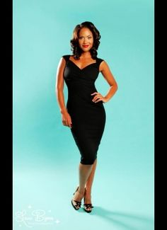 Erin Wiggle Dress in Black Stretch Bengaline from Pinup Couture - yes ma'am MUST HAVE!