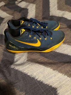 on sale a2b17 9067e Men s Nike KOBE 9 IX EM LOW GYM BLUE UNIVERSITY GOLD OBSIDIAN SIZE 12  646701-