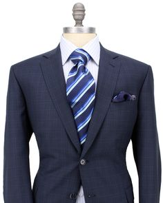 Brioni Navy Glen Plaid Suit