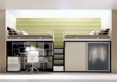 Pé-direito  Cama escrivaninha e armário  Bed desk and closet  Space optimization
