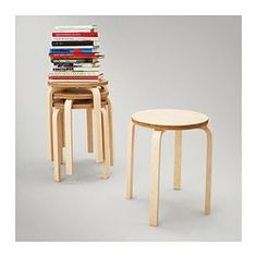 FROSTA Stool - IKEA Stackable and  attach a round tray with an edge to make a side table and stackable stools