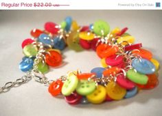 Black Friday Sales Button Charm Bracelet by SpecialtyBoutique, $19.80