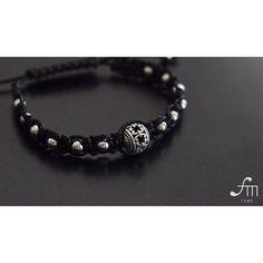 silver ball macrame bracelet ,adjustable men's bracelet with 5mm silver round beads, 10mm silver ball. Order now! At www.etsy.com/shop/fameisyou #fameisyou
