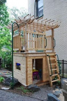 BACKYARD KIDS DESIGN IDEAS FOR SUMMER PLAYGROUND Create a fun and exciting backyard playground for your child or your daycare for free or for few dollars! You don't need expensive toys and fancy equipment to have an outdoor play area… Continue Reading → Backyard Fort, Backyard Playhouse, Build A Playhouse, Backyard For Kids, Pallet Playhouse, Kids Outdoor Play, Outdoor Play Areas, Kids Play Area, Outdoor Spaces