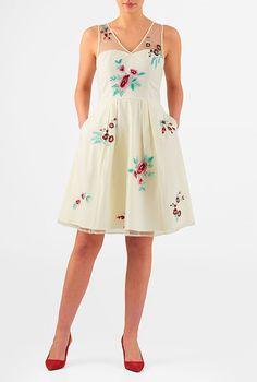 Floral embellished tulle poplin dress #eShakti