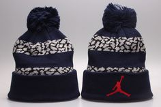 582183e43b1 Mens   Womens Air Jordan Jumpman Roll-Up Logo Cuff Striped Puffy Pom Knit  Beanie Cap - Navy   Elephant Cement Grey