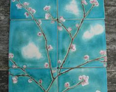 12 handmade bespoke ceramic tiles pink cherry blossoms