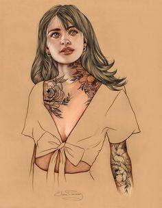 The realistic and poetic illustrations of Elena Pancorbo are an ode to corporeal beauty, especially the one of tattooed women.
