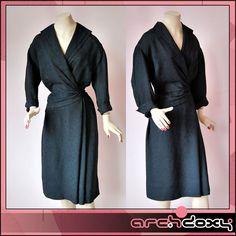 Vintage 1940s Jacquard Black Art Deco Structured Agent Carter Cocktail Dress 14