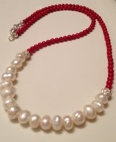 Coral with fresh water pearls, love the clean simple red and white