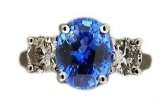 Vintage-Natural-Untreated-3-99ct-Oval-Blue-Sapphire-Fine-Round-Diamond-Ring