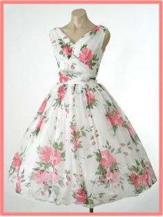 50s/60s Rose Print Chiffon Tea Length Party/Wedding Dress