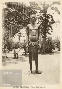Elderly Chief of the Bacouli Tribe in the French Congo (the present-day area of the Republic of the Congo, Gabon, and the Central African Republic).