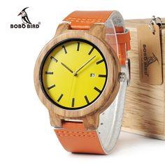 Best Deals $29.99, Buy BOBO BIRD WO09 Newest Zebra Wood Watches Yellow Orange Leather Band Calendar Quartz Watch for Men Women With Wooden Box OEM