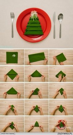 Photo tutorial on how to fold your napkins into festive Christmas trees!