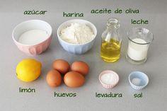 Ingredientes para hacer bizcocho de limón glaseado Vegan Desserts, Eggs, Breakfast, Food, Videos, Birthday Treats, Cold Desserts, Easy Food Recipes, Yummy Recipes