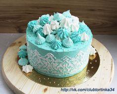 Кремовый торт в цветах Тиффани