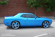 Dodge Challenger--the rims are god awful, that shade of blue tho Dodge Challenger, Fancy Cars, Cool Cars, My Dream Car, Dream Cars, Muscle Cars, Roadster, Dodge Chrysler, Automobile