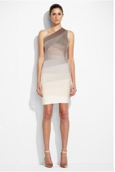 Herve Leger Ombre One Shoulder Bandage Dress