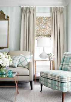 Narragansett wallpaper in Aqua, Bedford Chair in Percival Plaid woven fabric in Aqua, and Cochin blind in Aqua and Brown, by Thibaut