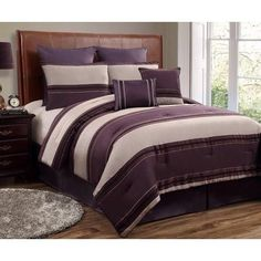 12pc CMBG. Plum/Beige/Black Luxury Size: King Sheet Set Color: Lavender