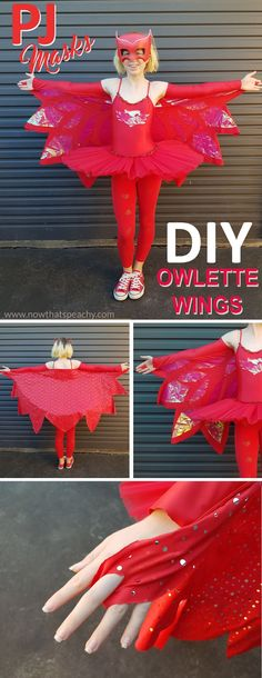 How to make an easy PJ MASKS Owlette wing cape. A no sew and basic sew method. Full picture DIY dress up costume Tutorial Owelette Costume, Dress Up Costumes, Diy Costumes, Costume Ideas, Pj Masks Kostüm, Pj Masks Owlette Costume, Superhero Dress Up, Diy Superhero Costume, Superhero Capes